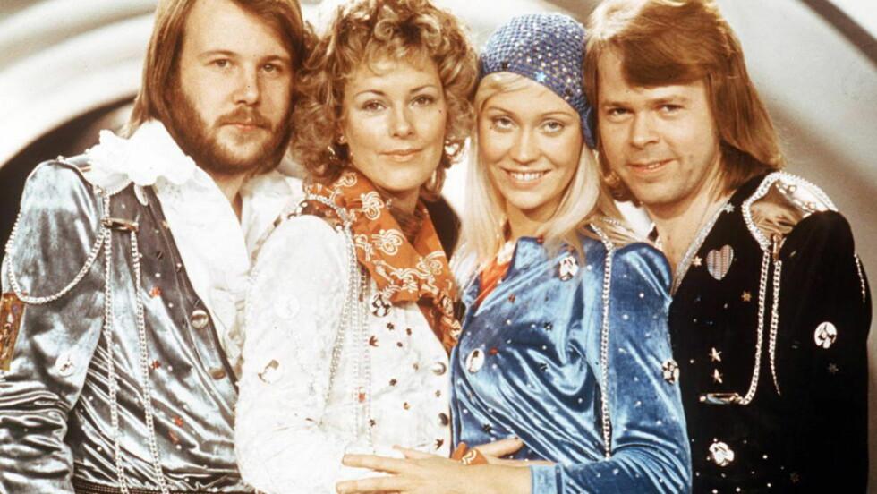MEN KULE KLÆR HADDE DE:  Det er så lenge siden som 1974 at Abba vant finalen i Brighton 6. april. Fra venstre Benny Andersson, Anni-Frid Lyngstad, Agnetha Fältskog og Björn Ulvaeus.