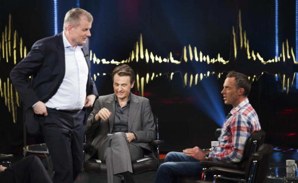 HETT:  Da Anders Aukland og Erik Røste gjestet Skavlan torsdag kveld. Foto: ROBIN HALDERT / NTB scanpix