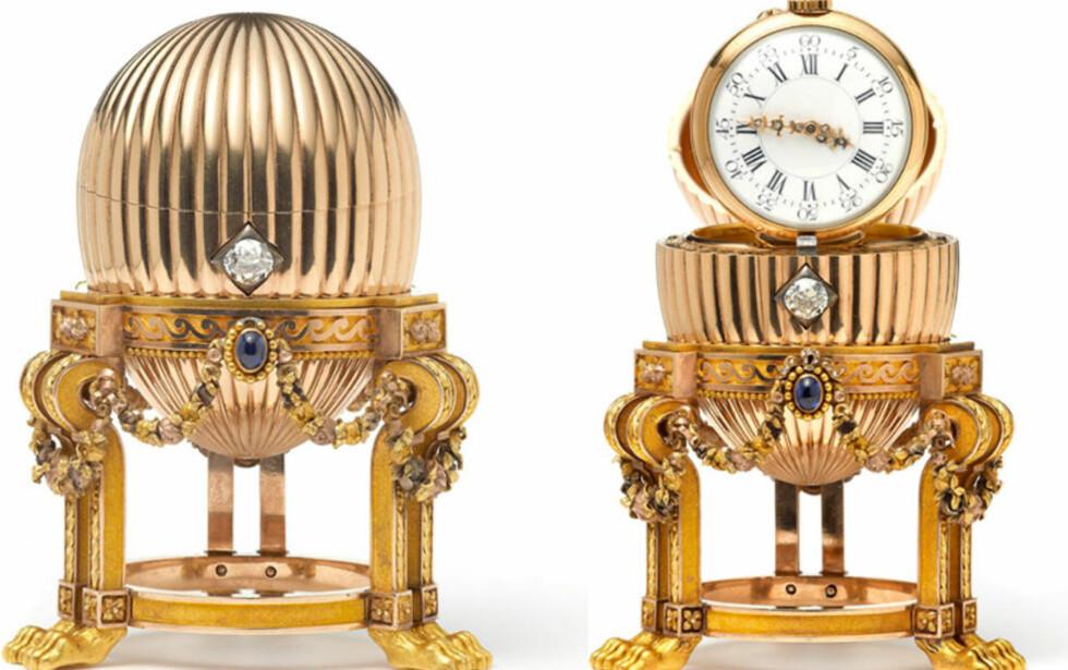 SAVNET I OVER 100 ÅR:  Dette Fabergé-egget, laget til tsar Alexander III i 1887, var forsvunnet i over 100 år før det dukket opp på et bruktmarked i USA. Mannen som kjøpte det for 66 000 norske kroner, hadde det stående på kjøkkenbenken i årevis før han fant ut at det var verdt millioner. Foto: PA / Wartski / AP Photo / NTB Scanpix