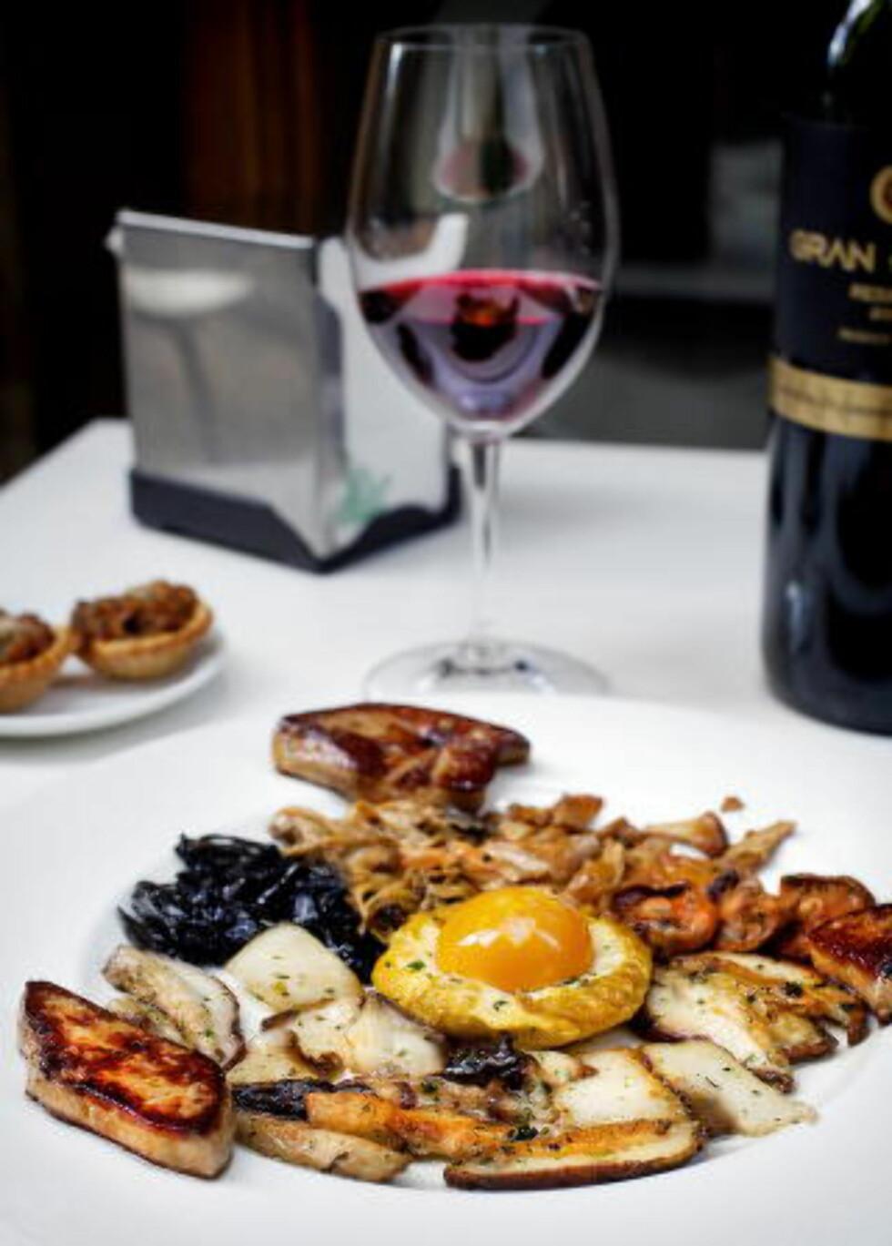 EKSKLUSIVT: Stekt skogsopp, lun foie gras og egg servert med god, spansk rødvin.   Foto: Mette Møller