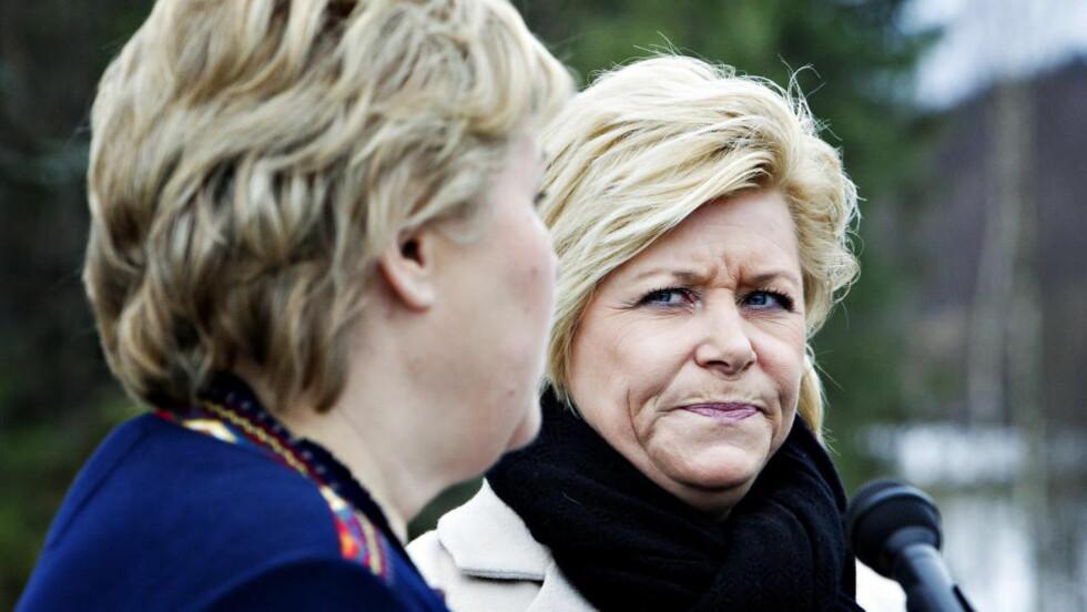 LAVESTE MÅLING: Målingen tyder på at Erna spiser av oppslutningen til Frp og Siv Jensen. Foto: Nina Hansen / DAGBLADET