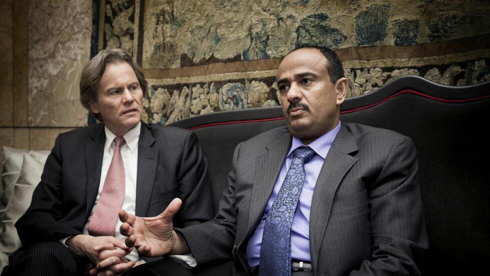 I MØTER:  Den jemenittiske parlamentarikeren Awad Alwazir (t.h.) er på besøk i Norge, etter å ha blitt invitert av Odd Petter Magnussen. (t.h.) Foto: Bjørn Langsem / DAGBLADET