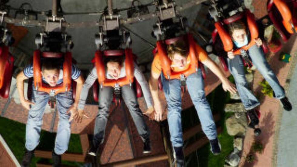 FALL: Folk på Gyro-Drop-Tower Scream i Heide Park. Foto: HEIDE PARK