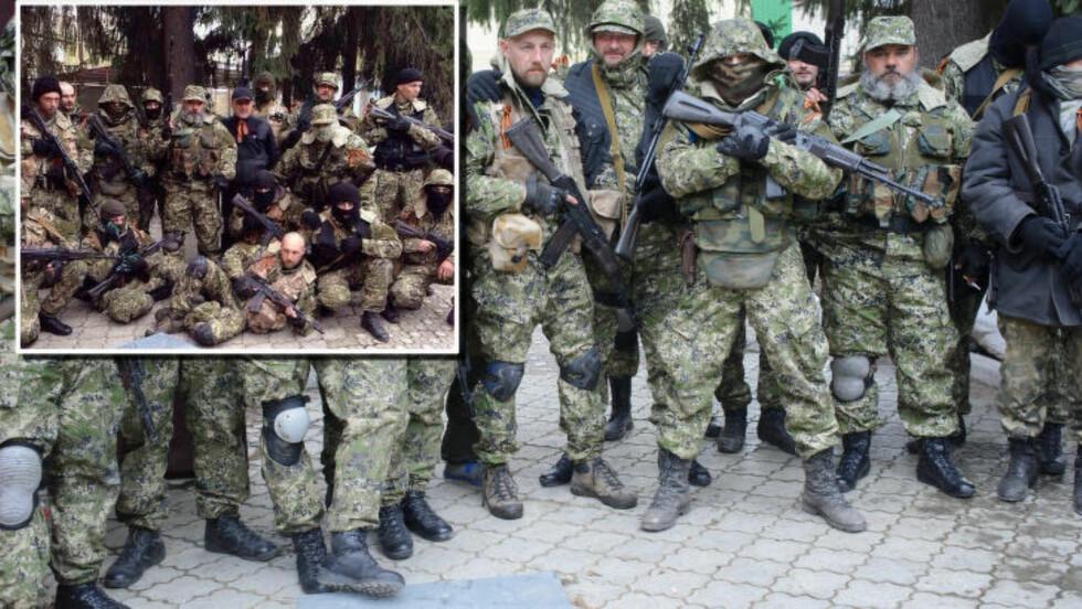 «BEVIS»: Det innfelte bildet er angivelig brukt som bevis på at gruppen er avbildet i russland før de kom til ukraina. Men det store bildet ble tatt utenfor politistasjonen i Slavjansk 12. april, og viser samme brostein, plate, trær og bakgrunn. Foto: AP/MaximDondyuk/NTB Scanpix