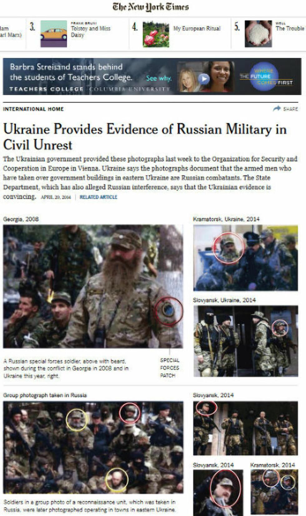 «BILDEBEVIS»: The New York Times presenterer bildene ukrainske myndigheter mener beviser at de «grønne mennene» er russiske elitesoldater. Men originalbildene viser noe annet. Faksimile: Nytimes.com