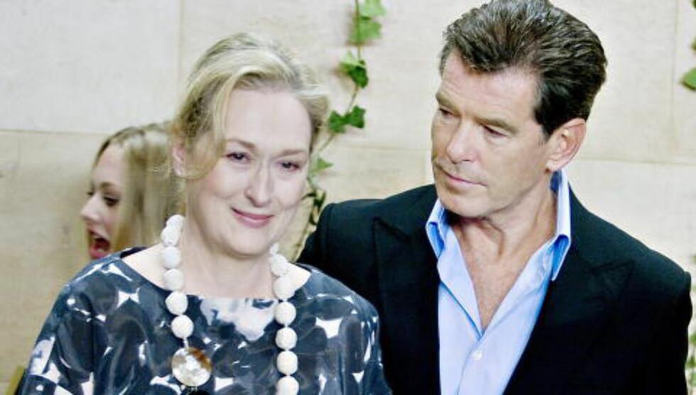 STOCKHOLM 2009: Meryl Streep og Pierce Brosnan i forbindelse med filmen «Mamma Mia». Foto: Adrian Øhrn Johanse/Dagbladet