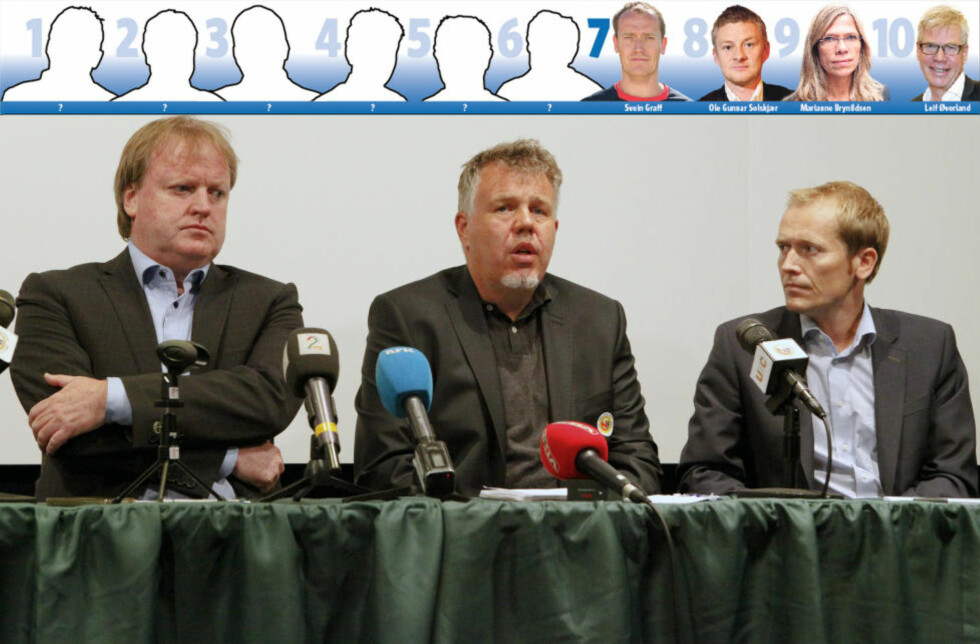 ALLES HØYRE HÅND: Svein Graff (til høyre) nyter stor tillit hos både Yngve Hallén (t.v.) og Kjetil Siem. Kommunikasjonsdirektøren får nå også større ansvar rundt det norske A-landslaget. Foto: MARIANNE LØVLAND / NTB SCANPIX