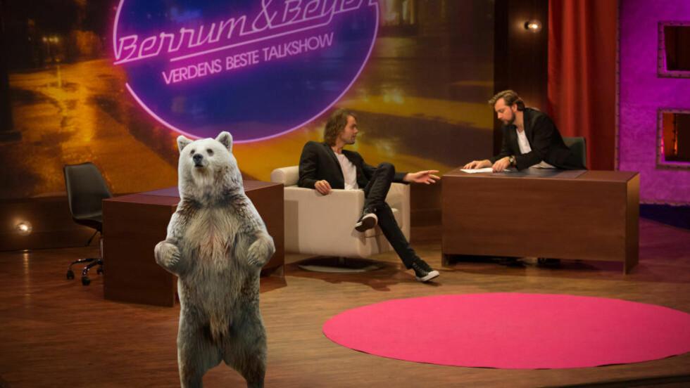 LEVENDE BJØRN: Lars Berrum og Martin Beyer-Olsen foreslår at Thomas Numme og Harald Rønneberg bør skaffe seg en bjørn i studio. FOTO: NRK og Taral Jansen/Soldatnytt
