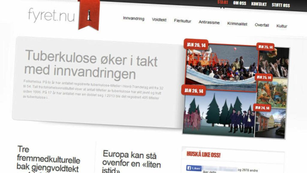 - UNDER FALSKT FLAGG: Fyret.nu utgir seg for å være en nyhetsside som «gir den usensurerte sannheten», bl.a. om innvandring og voldtekt begått av mørkhudede gjerningsmenn. Men nettstedet har tette bånd til norske og svenske nazister og seiler under falskt flagg, ifølge Radikal Portal. Faksimile: Fyret.nu