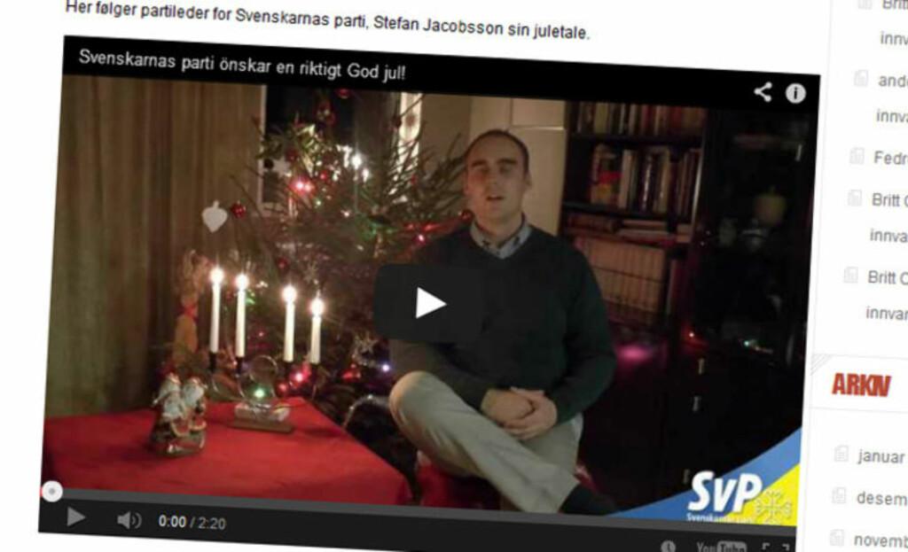 JULEHILSEN: Fyret.nu viderebringer julehilsener fra en rekke «nasjonalistiske partier» - blant dem nazistiske Svenskarnas Parti. Faksimile: Fyret.nu