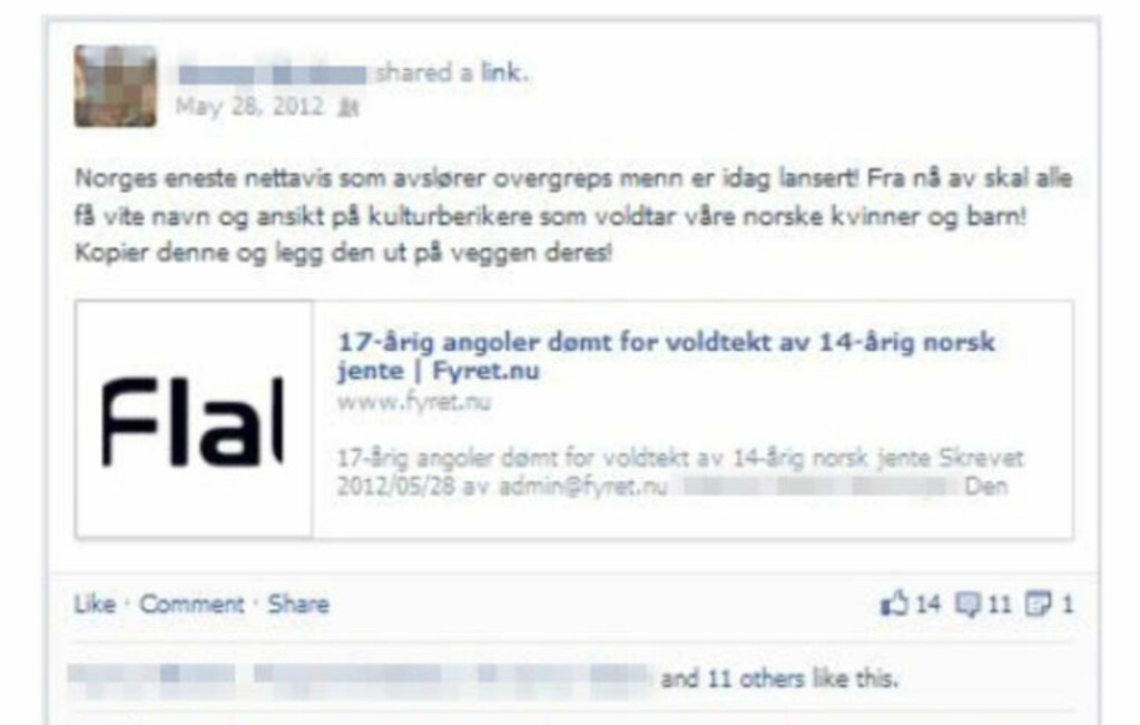 - BEVIS: Ifølge Radikal Portal beviser denne Facebook-postingen at den ene utpekte norske nynazisten er blant opphavspersonene bak Fyret.nu. Faksimile: Facebook / Radikal Portal