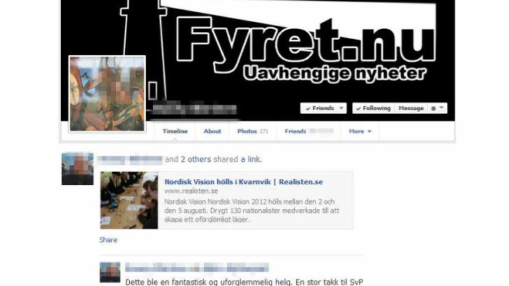 TILKNYTNING: Ifølge Radikal Portal er dette bevis på at en av de utpekte norske nynazistene står bak Fyret.nu, siden han har brukt logoen som bakgrunnsbilde. Nordisk Vision er nordiske nynazisters sommerleir. Faksimile: Facebook / Radikal Portal