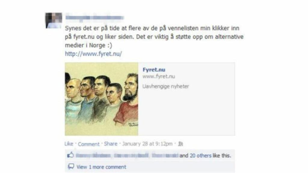 REKLAMERER: Her reklamerer den tidligere lederen for en nynazistisk organisasjon for Fyret.nu. Ifølge Radikal Portals opplysninger er mannen i 30-åra en av flere opphavspersoner bak nettstedet. Selv avviser han å ha noe med Fyret å gjøre. Faksimile: Facebook / Radikal Portal