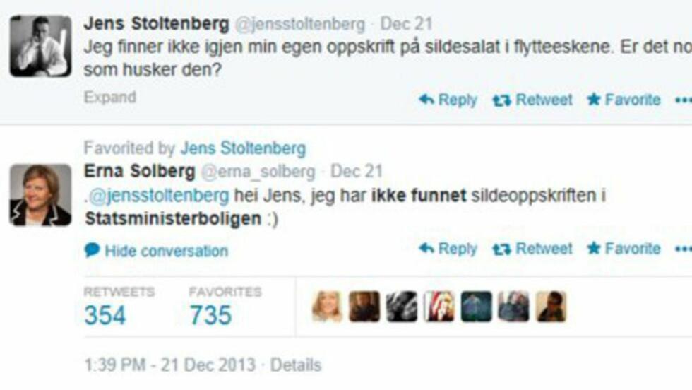 KJAPP I REPLIKKEN: Erna Solberg er rask til å svare sin valgkamp-rival. I fjor høst overtok hun statsministerboligen etter Jens Stoltenberg. Foto: Skjermdump.