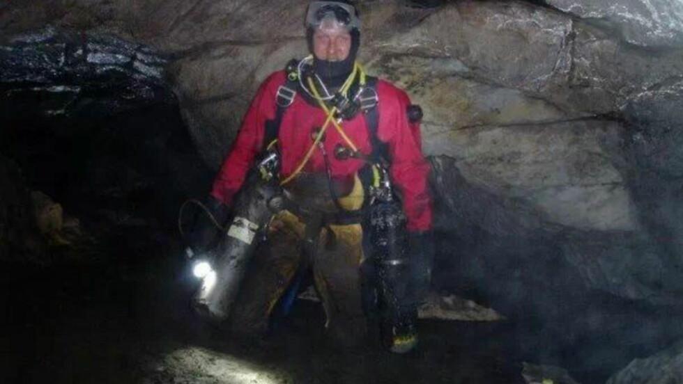 OVERRASKET: Den meget erfarne grottedykkeren Hallgeir Revhaug er overrasket at det skjer en ny ulykke i Pluragrotten nå. Foto: Privat