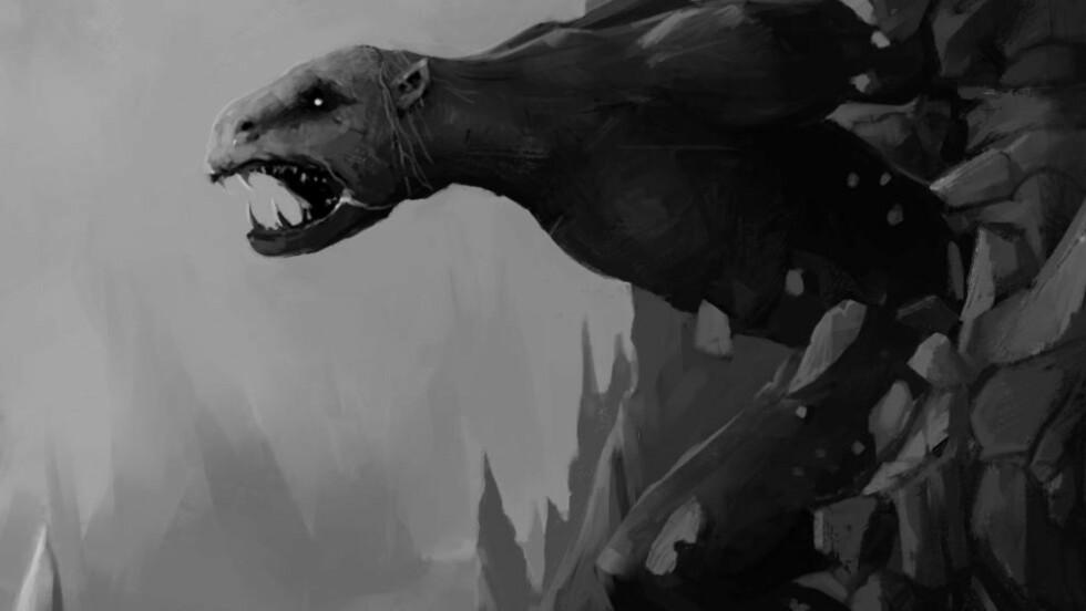 SKUMLE TROLL: Trollene er ikke til å spøke med, slik de beskrives i to ferske norske fantasybøker for barn. Her er et utsnitt fra en av illustrasjonene i Martin Fyrileivs «Bergtatt». Illustrasjon: ANDREAS FYRILEIV