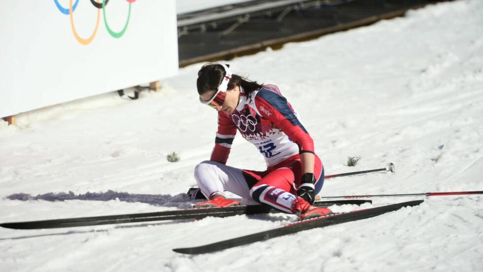 IKKE FULLKLAFF: Heidi Weng ble nummer ni på ti-kilometeren og trivdes ikke i varmen. Foto: Thomas Rasmus Skaug