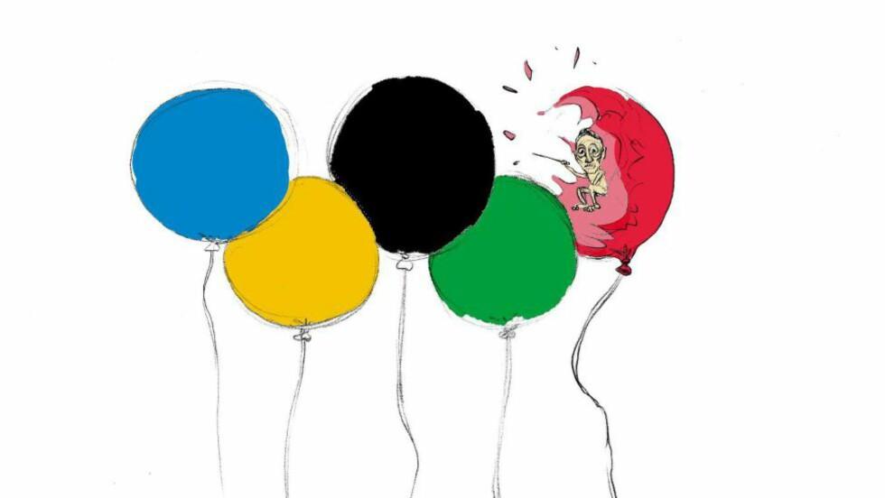 BLINDE NÅR DET PASSAR: Gerhard Heiberg irettesatte dei norske utøverane for å gå med sørgeband. Artikkelforfattar Øystein Runde set pris på raseriet mot arrangementet og systemet i Russland. Illustrasjon: Øystein Runde