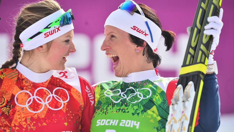 REVANSJEN: Etter to mislykkede løp slo Marit Bjørgen grusoimt tilbake og vant OL-gull på lagstafetten sammen med Ingvild Flugstad Østberg. Foto: Thomas Rasmus Skaug