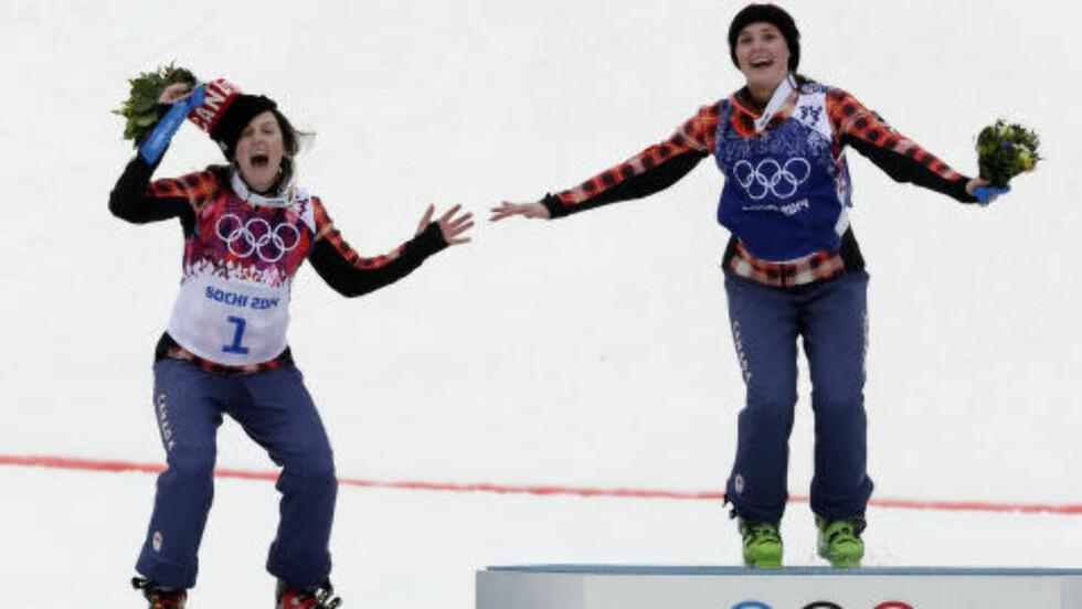 NUMMER TO: Canada tok både gull og sølv i skicross i dag. Foto: AP Photo/Andy Wong / NTB SCANPIX