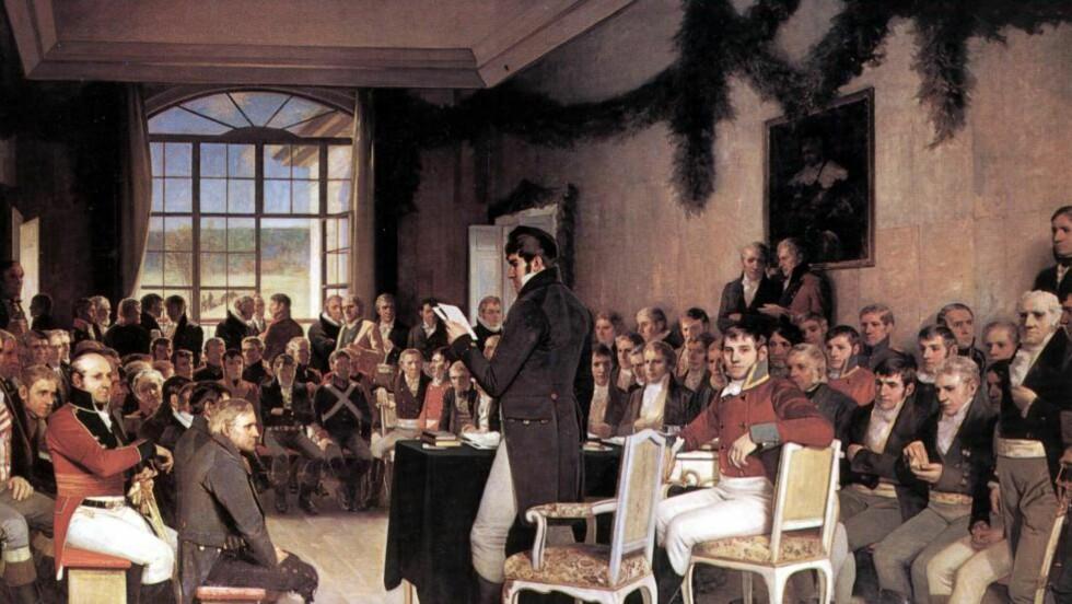"1814:  ""Riksforsamlingen på Eidsvold 1814"" av Oscar Wergeland. Malerietergeland som henger i Stortingssalen.Foto: NTB Scanpix"