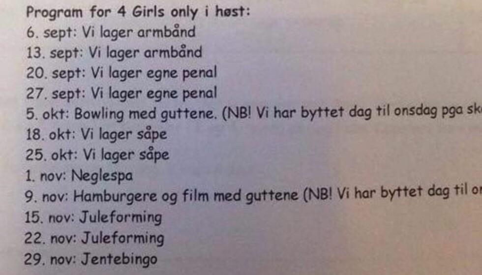 «4 GIRLS ONLY»: SFO-programmet for Steindal skole i Trondheim er gjenstand for debatt i sosiale medier. - Dette er ikke kjønnshjernevask. Dette er uttrykk for underliggende biologi og identitetssøken, enten vi liker det eller ikke, skriver psykolog Rolf Marvin Bøe Lindgren.