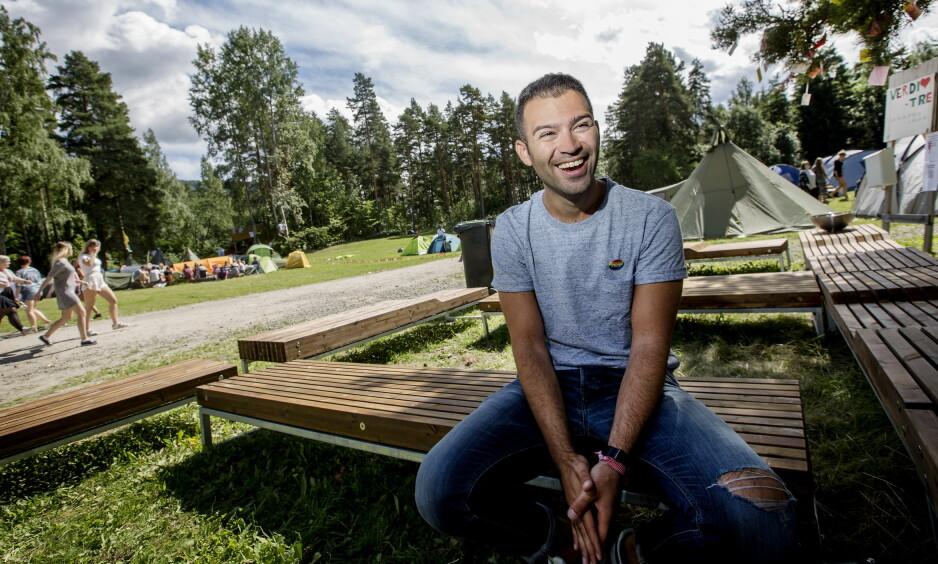 PÅ UTØYA: AUF-leder Mani Hussaini tilbake på Utøya i sommer. Foto: Anita Arntzen / Dagbladet