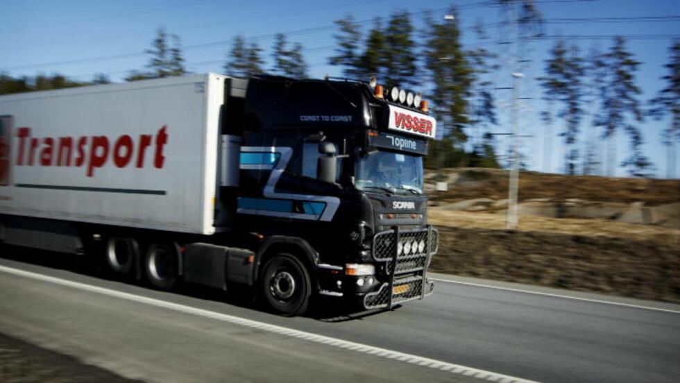 KABOTASJE: En ny app er tatt i bruk for å registrere utenlandske vogntogs bevegelser på norske veier. Foto: Erlend Aas/Scanpix