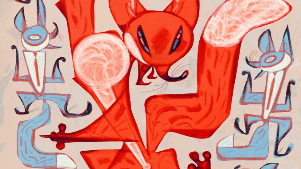 HER ER REVEN: Svein Nyhus' illustrasjoner spiller på scenene i musikkvideoen til «What does the fox say?». Faksimile fra boka