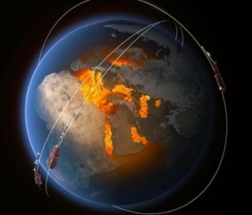 <strong>BANER:</strong> Banene til de tre satellittene i Swarm høyt over jordas indre som skaper magnetfeltet. Illustrasjon: ESA/ATG Medialab