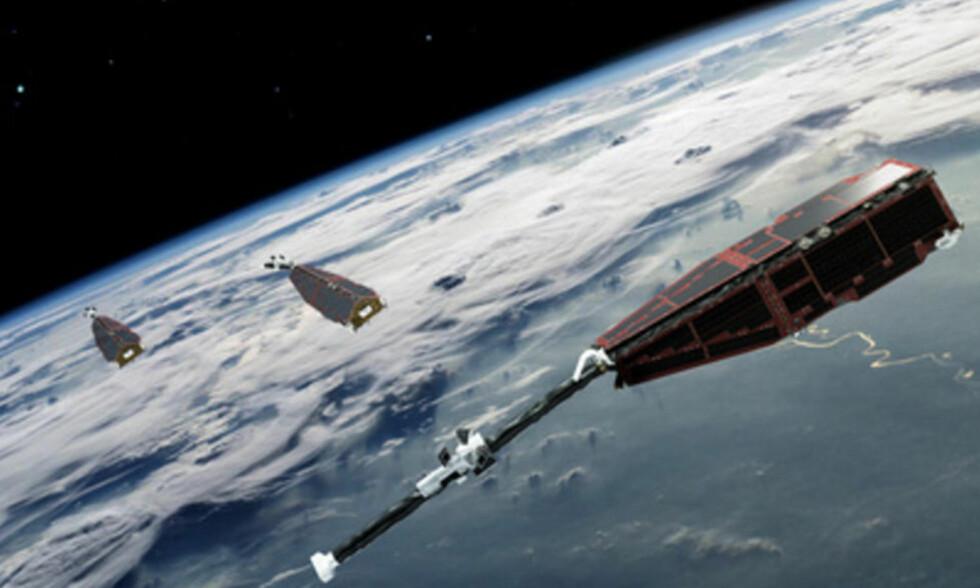 SKYTES OPP 22. NOVEMBER: De tre satelittene som skal måle jordas magnetfelt skytes opp den 22. november klokka 13.02 norsk tid fra kosmodromen i Plesetsk i Arkhangelsk, helt nordvest i Russland. Foto: ESA/AOES Medialab