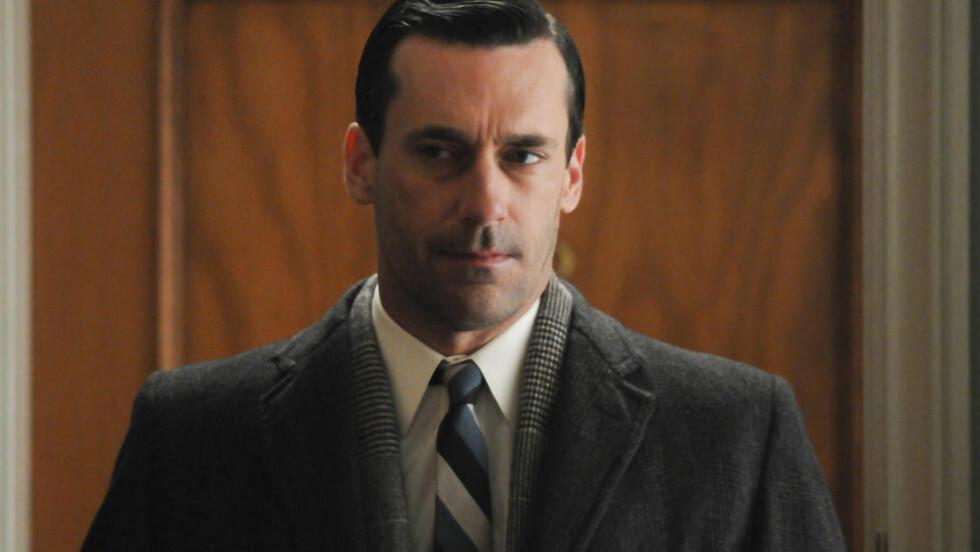 - AVSKYELIG:  Jon Hamm har spilt Don Draper i «Mad Men» over flere sesonger, men privat mener han karakteren er en avskyelig fyr. Her er han i rollen som Draper. Foto: NTB Scanpix