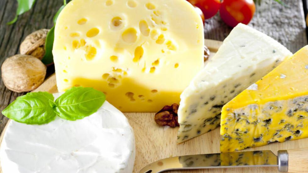 BLÅMUGGOST: Oster som blåmuggost eller hvitmuggost er blant dem som inneholder mest fett, og som regel litt mindre kalsium enn det er i brunost og gulost. Foto: FOTOLIA