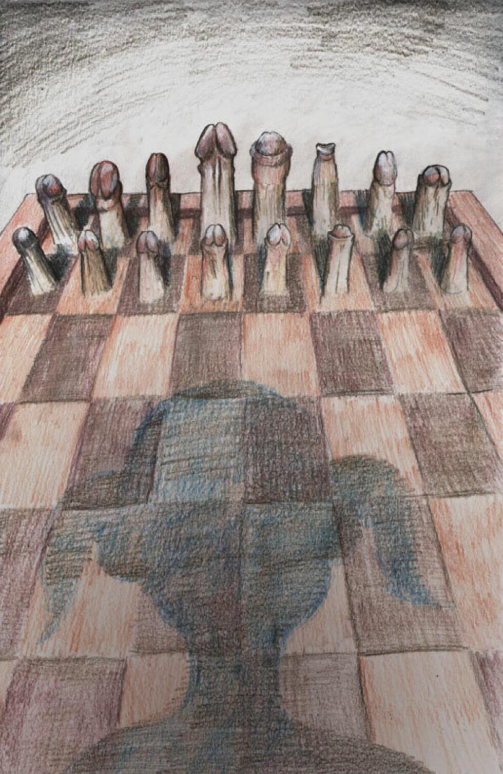 MANNSDOMENET SJAKK: Følelsen av å spille på bortebane, mot en etablert overmakt, i strid med en tung tradisjon, gjør i seg selv at kvinner prestererer dårligere. Og følelsen må være enda sterkere i mannsdomenet sjakk. Du blir veldig synlig som eneste jente i en gymsal med 100 sjakkgutter. Som i hvert fall ikke vil tape for en jente. Illustrasjon: Flu Hartberg