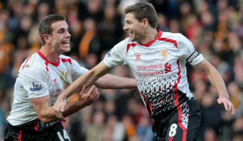 FRISPARKSMÅL:  Steven Gerrard scoret på frispark for Liverpool .Det var ikke nok for gjestene. Foto: AFP PHOTO/LINDSEY PARNABY/NTB Scanpix.