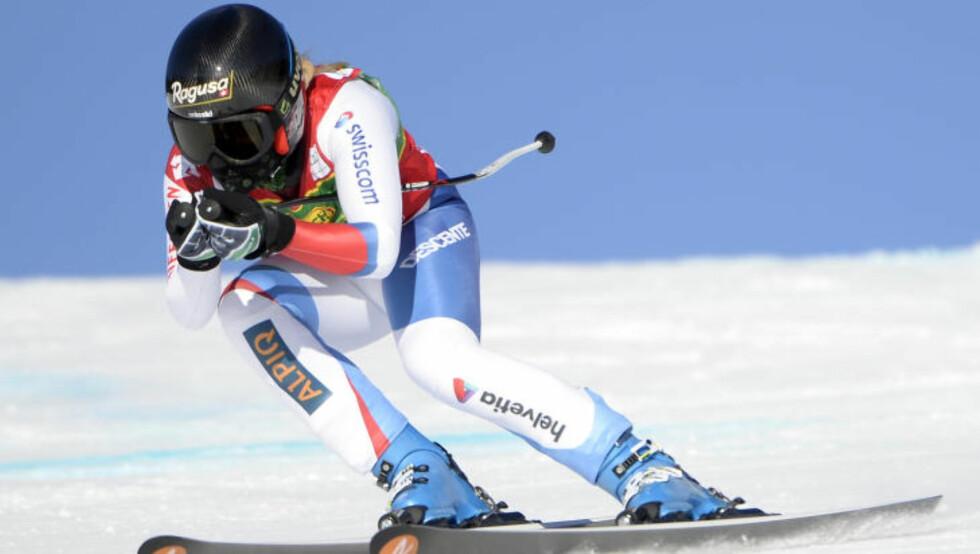 STERK KJØRING: Lara Gut gikk helt til topps i gårsdagens super-g i Lake Louise. Foto:  Eric Bolte-USA TODAY Sports