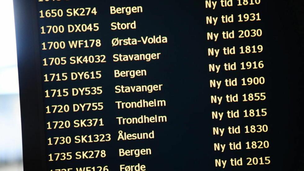 FORSINKELSER: Det er store forsinkelser i flytrafikken på Gardermoen. Bildet er fra en tidligere anledning. Foto: Thomas Rasmus Skaug / Dagbladet