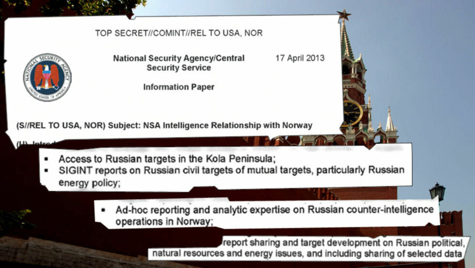 TOPPHEMMELIG: Notatet om E-tjenestens samarbeid med amerikanske NSA er skrevet 17. april i år. Der framgår det at de to etterretningstjenestene samarbeider svært tett om overvåkning av både militære og sivile «mål» i Russland. På bildet Kreml, Russlands politiske sentrum.