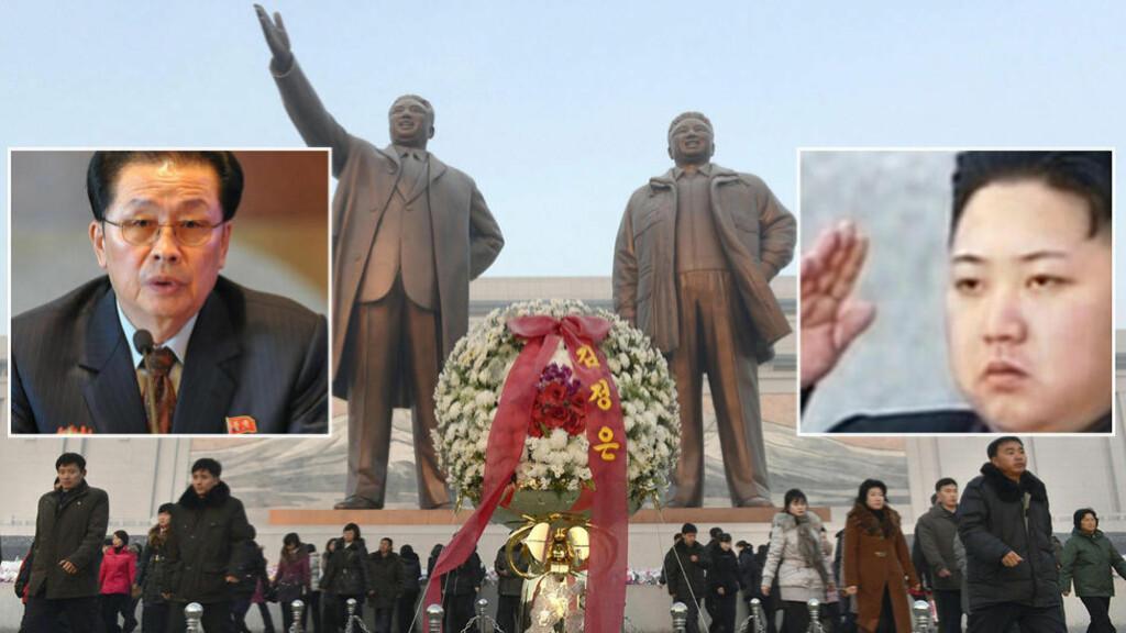 MAKTKAMP:  Kim Jon-un (innfelt, høyre) markerte seg sterkt forrige uke da han henrettet sin egen onkel Jang Song-thaek (innfelt, venstre). I midten ser du gigantiske statuer av Kim Il-Sung (venstre) og Kim Jong-il. Foto: Reuters / NTB Scanpix.
