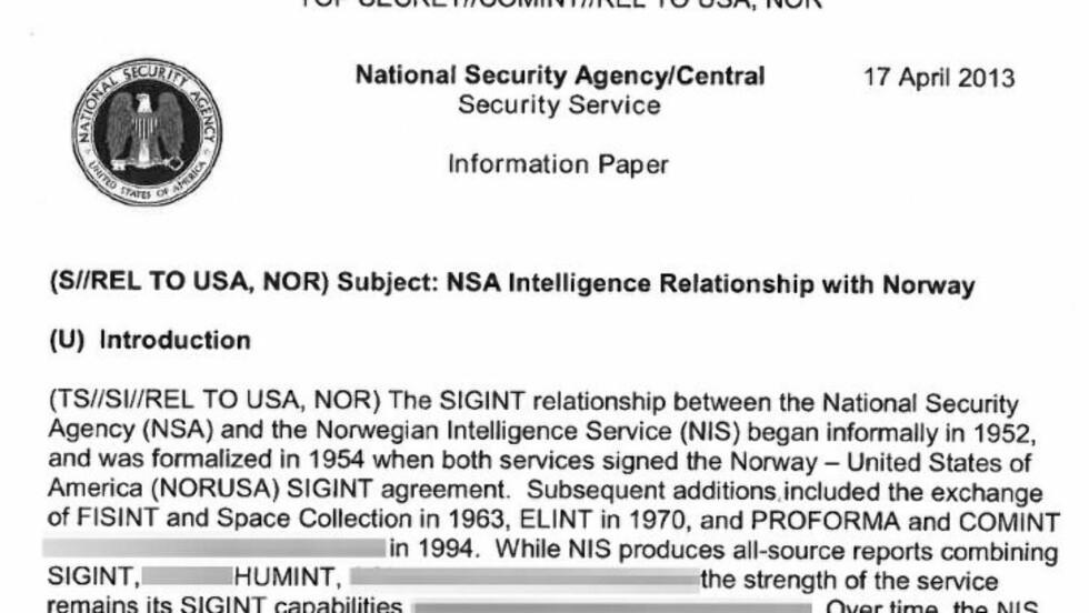POPULÆR PARTNER: Det topphemmelige notatet fra april i år beskriver i detalj dagens etterretningsutveksling mellom E-tjenesten og amerikanske NSA og den historiske bakgrunnen for det svært nære forholdet.