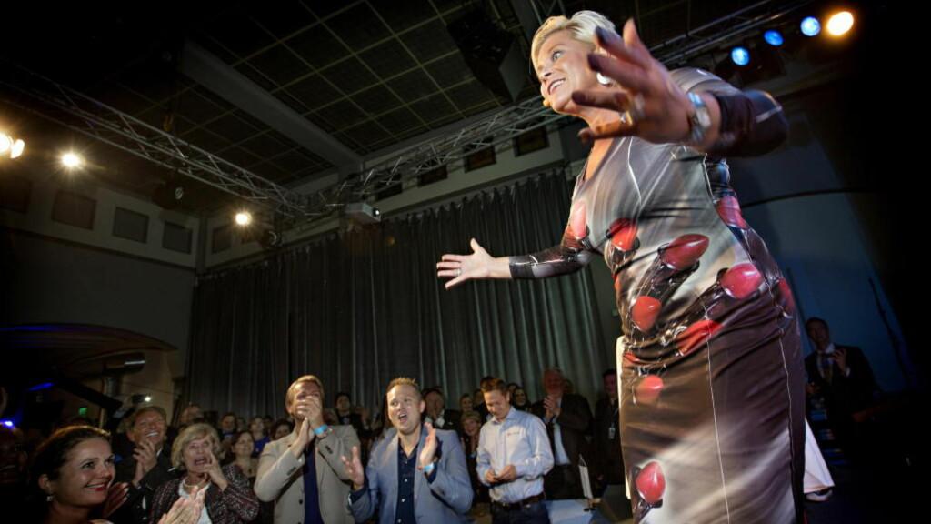 SISTE SKRIK:  Siv Jensens utbrudd valgnatta lovet mer enn hun kunne holde. Siden har hun snakket med innestemme. Foto: Anita Arntzen / Dagbladet