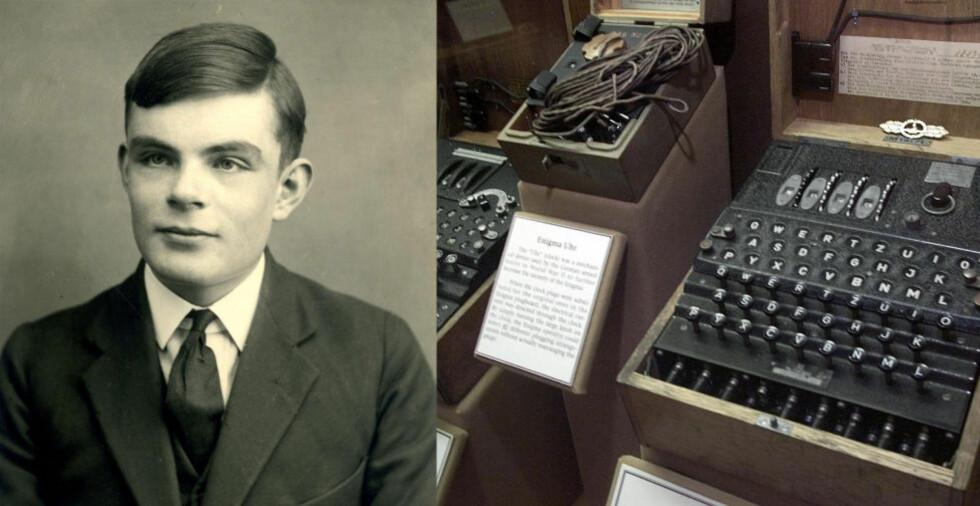 FORKORTET KRIGEN: Fordi Alan Turing klarte å knekke tyskernes Enigma-kode, kunne de allierte fra tidlig i krigen få forhåndsinformasjon om ubåtmanøvrer og troppeforflytninger. Til høyre en Enigma-maskin, til venstre Turing i 1928. Foto: AFP / NTB Scanpix
