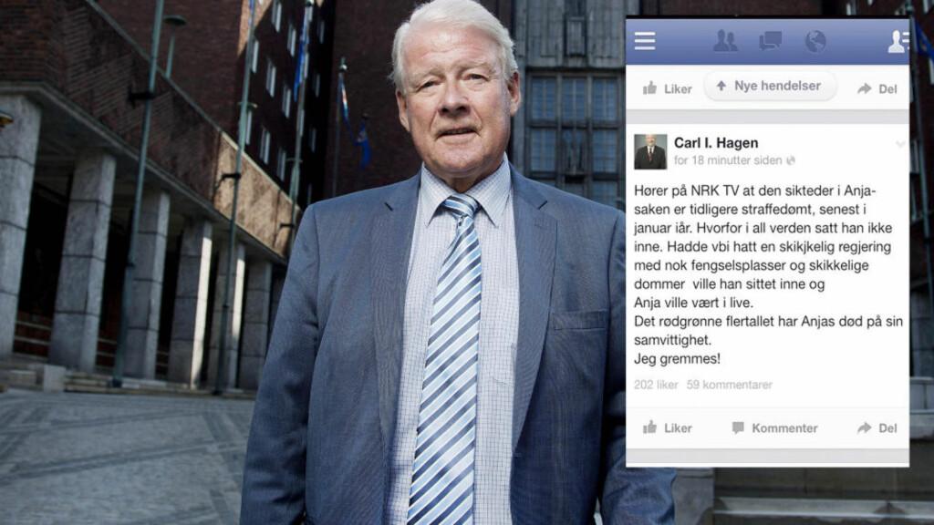 - UHELDIG, MEN RIKTIG:  - Den er for drøy, Carl, sa en partifelle - og tidligere Frp-formann Carl I. Hagen trakk sin kommentar på Facebook i natt. Men under forklarer han hvorfor han står inne for budskapet. FOTO. AGNETE BRUN/DAGBLADET. Skjermdump Facebook/Twitter.