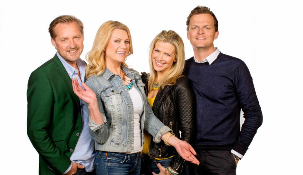 EKSPERTISE: Birgitte Lund Nakken (midten t.v.) har hjelp av Knut Hovland, Maria Erlingsdotter Neerland og Andreas Engesvik til å kåret årets norske hjem. Foto: TVNorge