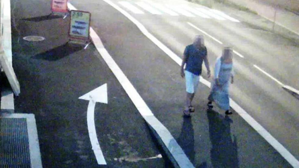 SISTE FERD:  Et overvåkningskamera fanget opp den omkomne Linn Madelen Bråthen og den drapssiktede politimannen til fots opp på Breviksbrua etter de to hadde vært på fest på Stathelle tidligere på kvelden sammen med Linns kjæreste og bror.