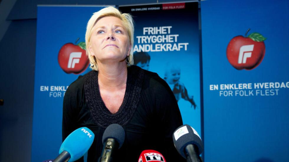 Frp-leder Siv Jensen og hennes partifeller mener de er blitt framstilt på en «urimelig» måte i internasjonale medier. Foto: Gorm Kallestad / NTB scanpix