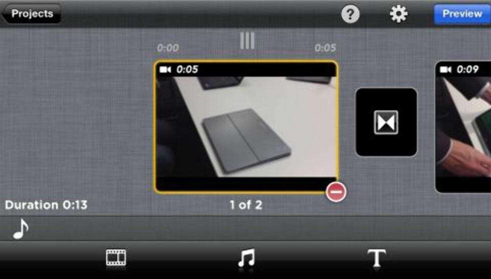 ENKELT: Perfect Video har et enkelt grensesnitt, og det er ikke veldig vanskelig å redigere sin egen mobilfilm. Foto: HjemmePC