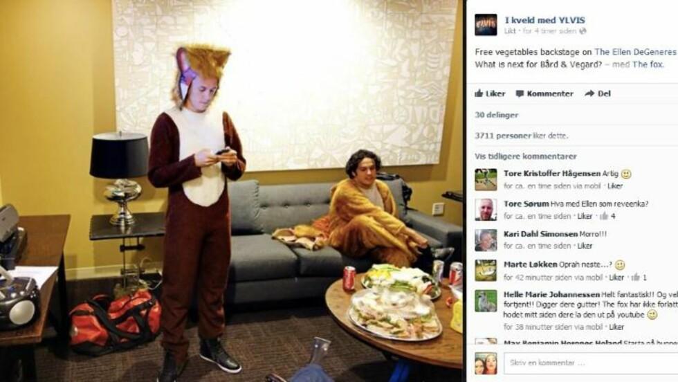 GRATIS FRUKT: Her er Ylvis-gutta på bakrommet til Ellen DeGeneres. Faksimile: TVNorges Facebook-side fra «I kveld med Ylvis».