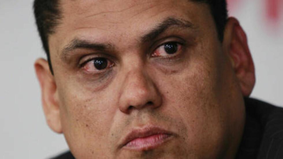 NÅDELØS: Fotballpresidenten i El Salvador, Carlos Mendez, har utestengt 14 spillere på livstid så langt i kampfiksingsskandalen som har rystet det lille landet. Foto: REUTERS/Ulises Rodriguez