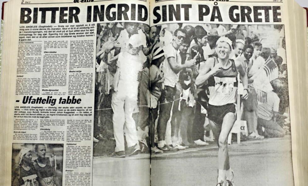 STRIDEN: Faksimile fra Dagbladet 6. august 1984, etter det dramatiske maratonet under Olympiske leker i Los Angeles.